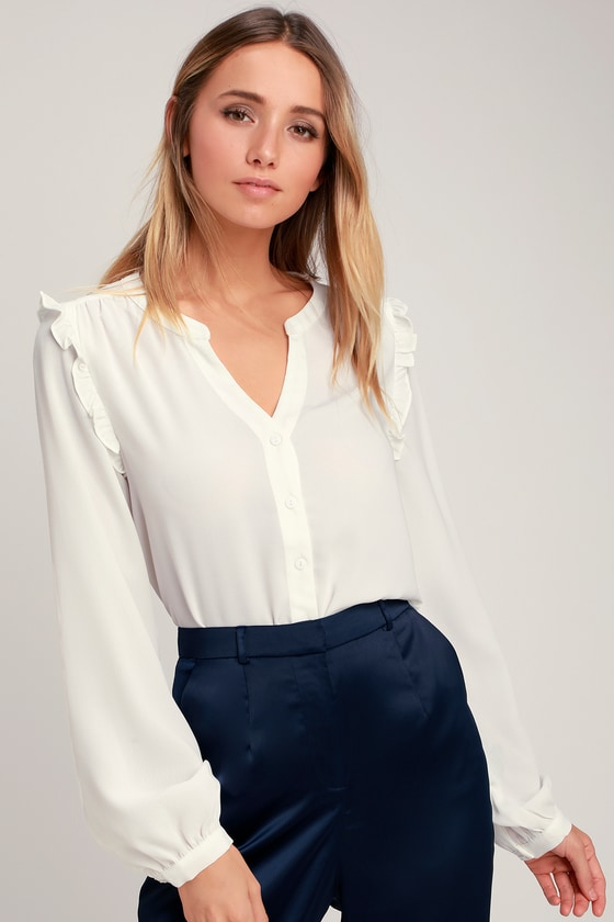 14b44c2ffee Chic Blouse - White Blouse - Button-Up Top - Long Sleeve Top