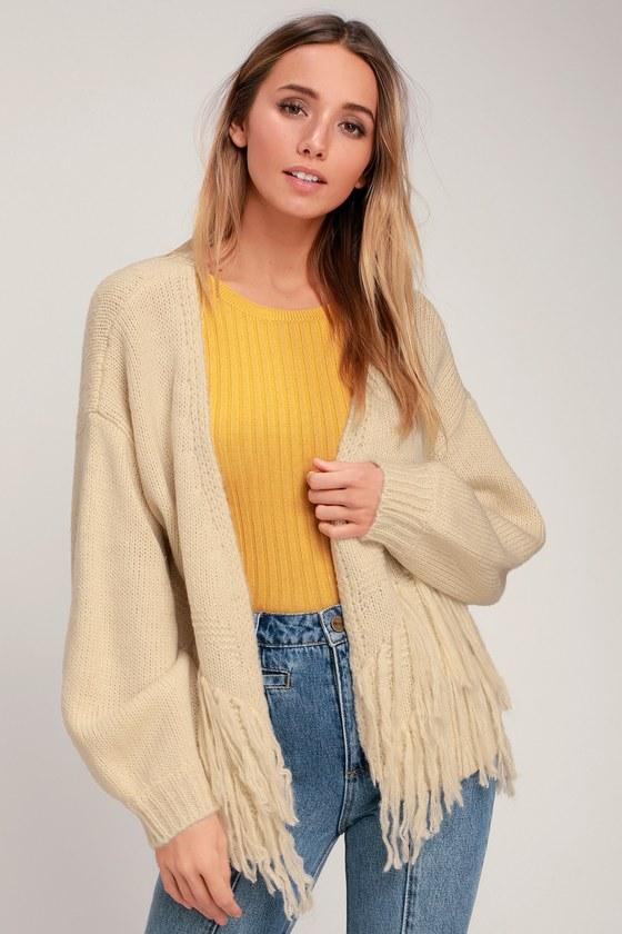 30e985f0ef30d5 Cute Cream Sweater - Cardigan Sweater - Fringe Sweater - Sweater