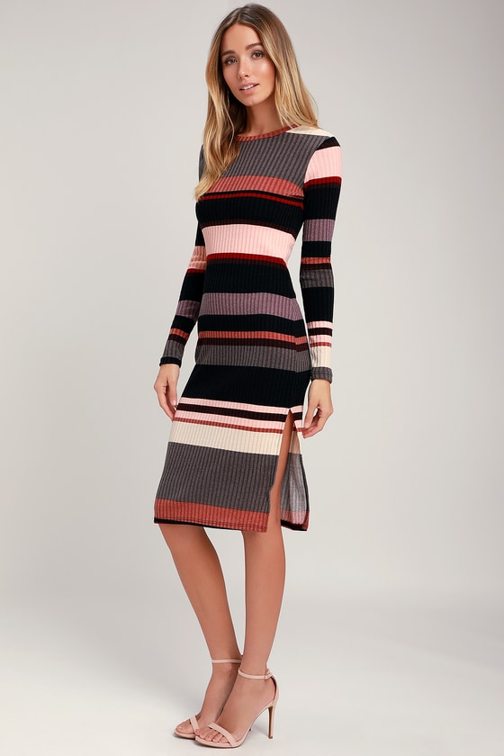 Mauve Multi Striped Ribbed Long Sleeve Midi Dress - Fall Long Trendy