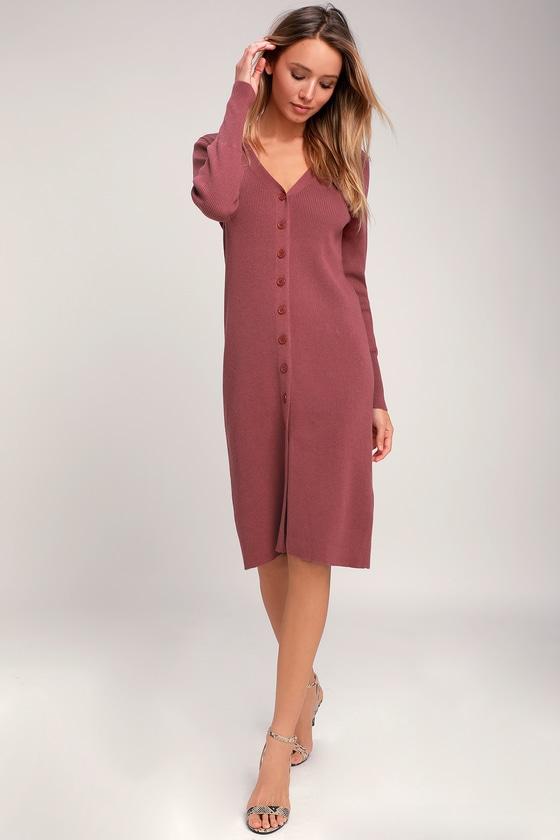 4de1779d8e3 I Adore You Rusty Rose Long Sleeve Button-Up Midi Sweater Dress