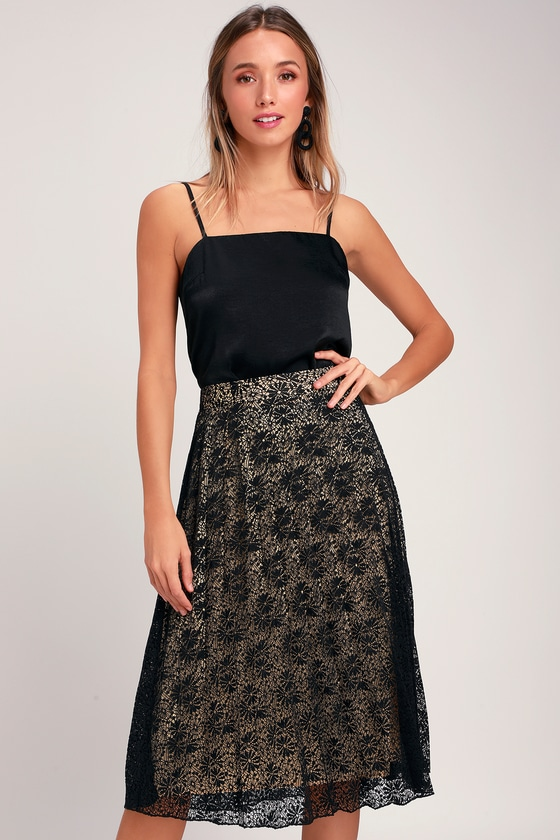 158478697 Chic Lace Skirt - Lace Midi Skirt - Black and Nude Lace Skirt