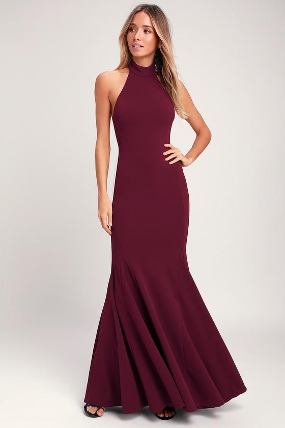 Slice of Joy Burgundy Halter Maxi Dress - Lulus
