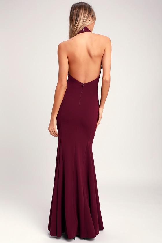 41a0941293e Elegant Burgundy Dress - Halter Dress - Maxi Dress - Gown