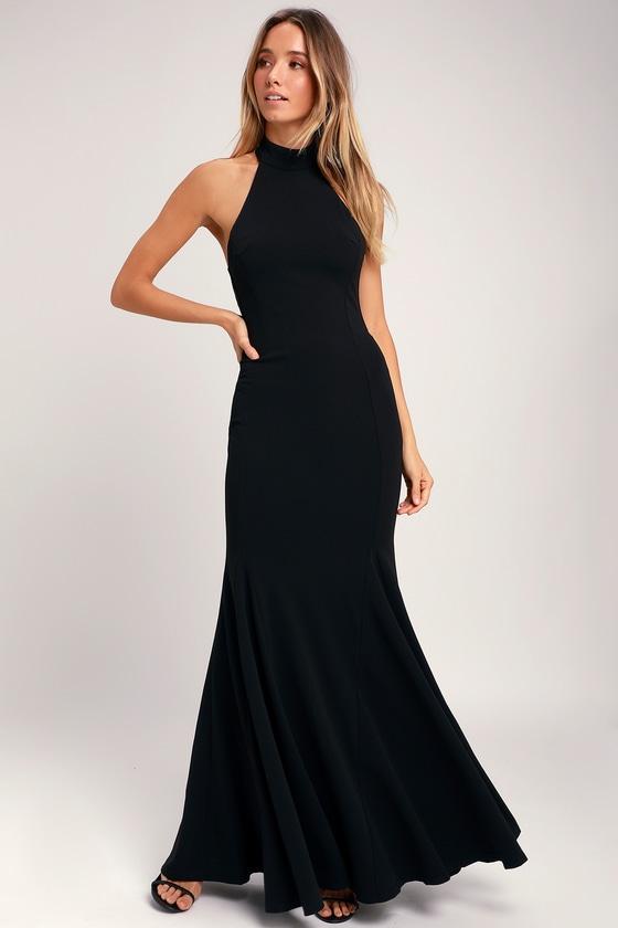 Elegant Black Dress - Halter Dress - Maxi