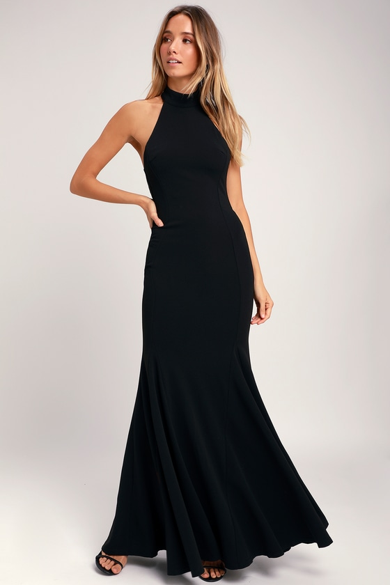 Long Black Halter Dress