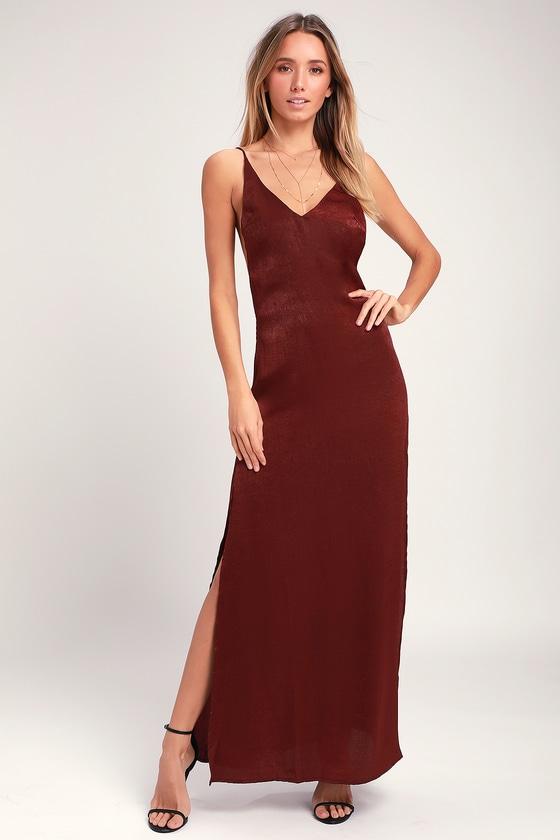 308829f3996 Sexy Burgundy Maxi Dress - Backless Dress - Satin Maxi Dress
