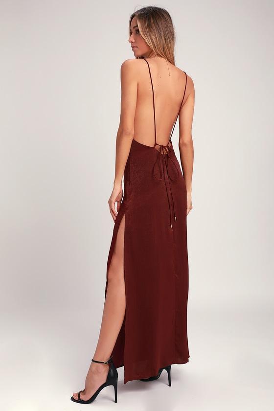 44ffa2d7f9c Sexy Burgundy Maxi Dress - Backless Dress - Satin Maxi Dress