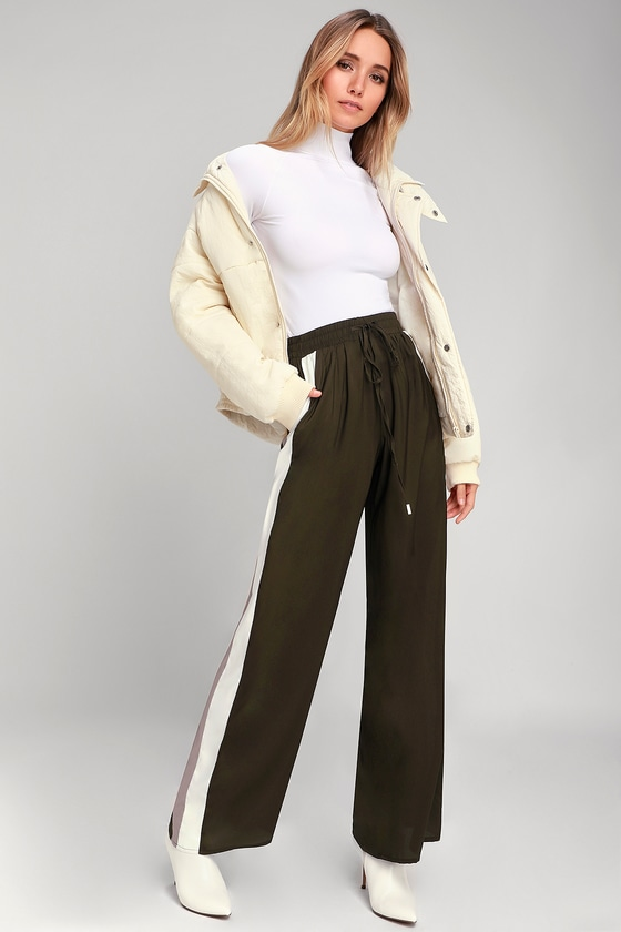 Cute Olive Green Pants Side Stripe Pants Wide Leg Pants