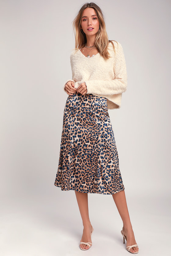 GLOBAL ICON TAN AND NAVY BLUE LEOPARD PRINT SATIN MIDI SKIRT - CLASSY FALL OUTFITS