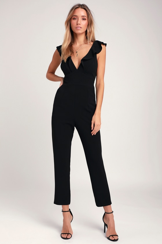 ebbd88a8405 Chic Black Jumpsuit - Ruffled Jumpsuit - Formal Jumpsuit