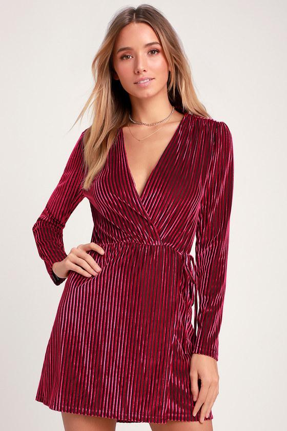 Live It Up Magenta Striped Velvet Long Sleeve Wrap Day Dress - Lulus
