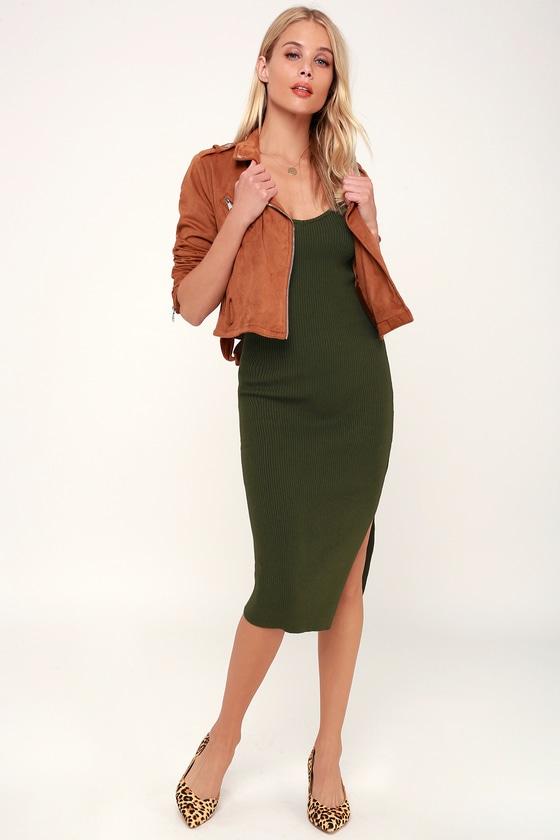 4085812621a8 Cool Olive Green Dress - Ribbed Knit Dress - Bodycon Midi Dress