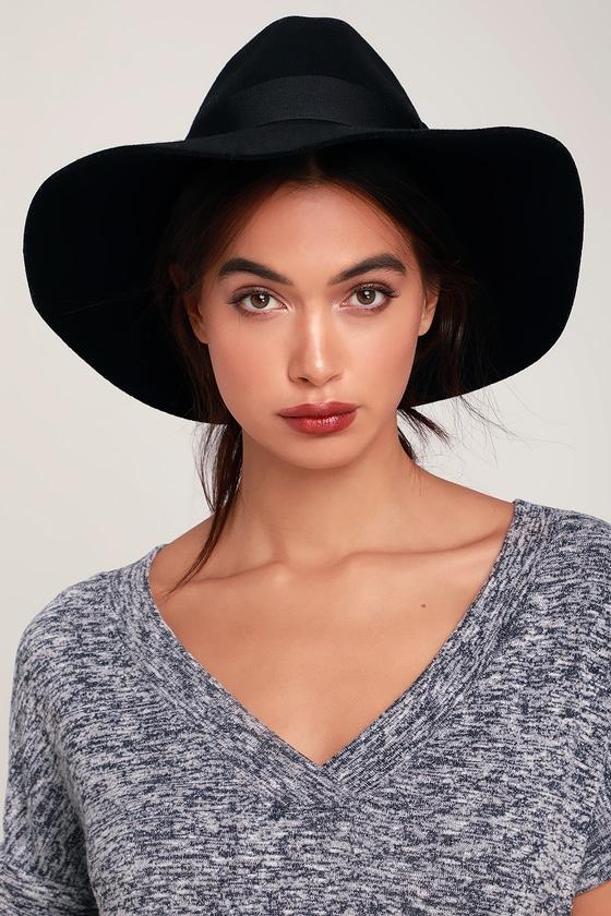 Brixton Piper - Black Felted Wool Hat- Floppy Brim Hat bcb31f6193d