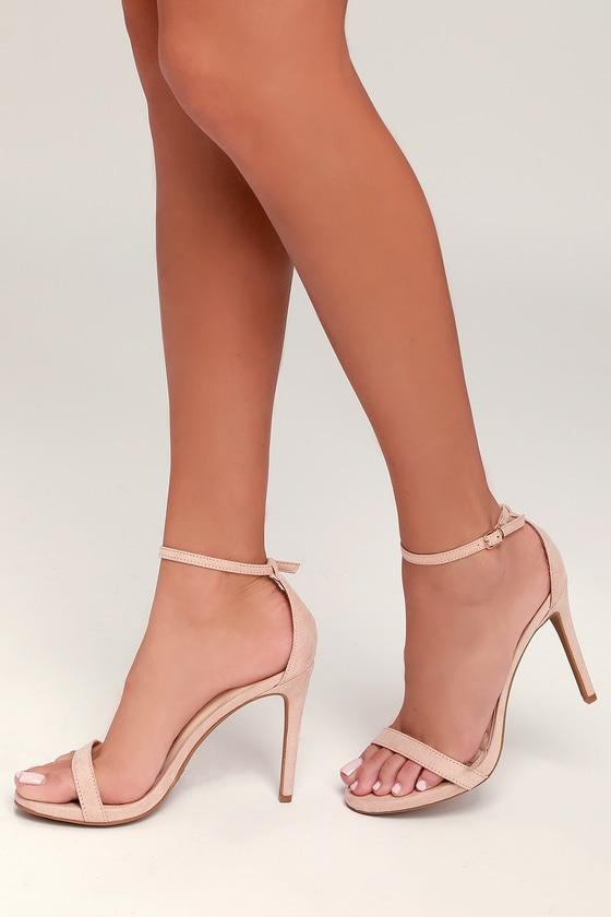 1fcf9b4fb79 Chic Blush Suede Heels - Ankle Strap Heels - Single Strap Heels