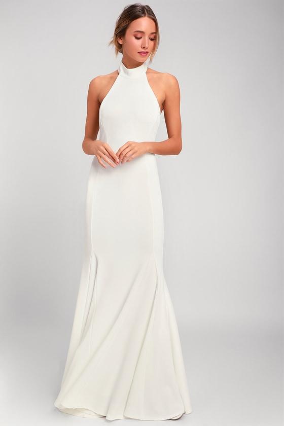af35e68454b Elegant White Dress - Halter Dress - Maxi Dress - Gown
