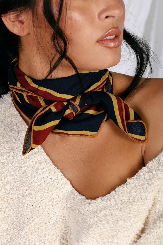 1920s Accessories: Feather Boa, Cigarette Holder, Flask Tautou Burgundy and Navy Blue Striped Scarf - Lulus $7.00 AT vintagedancer.com