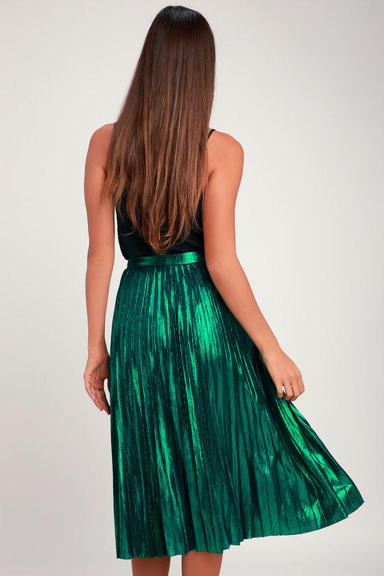 13a0abbfc0 Chic Forest Green Skirt - Midi Skirt - Pleated Midi Skirt