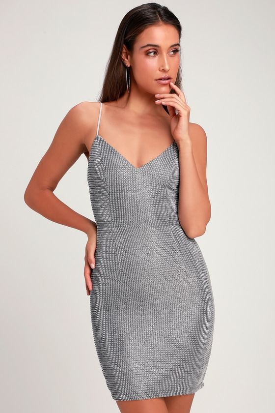 57aaaea06 Stunning Silver Dress - Silver Sparkle Dress - Sparkly Mini Dress