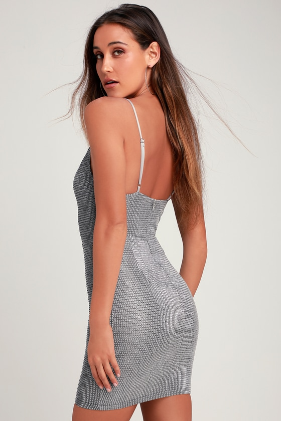483bf5fb Stunning Silver Dress - Silver Sparkle Dress - Sparkly Mini Dress