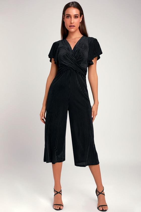 9554c2fc8ba Chic Black Jumpsuit - Velvet Striped Jumpsuit - Culotte Jumpsuit
