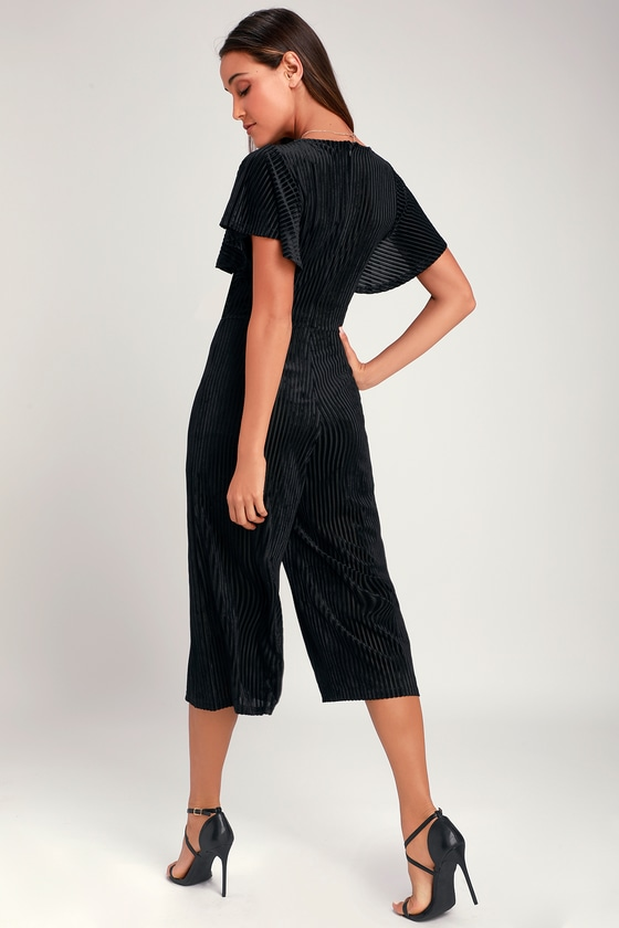 8328aac950 Chic Black Jumpsuit - Velvet Striped Jumpsuit - Culotte Jumpsuit