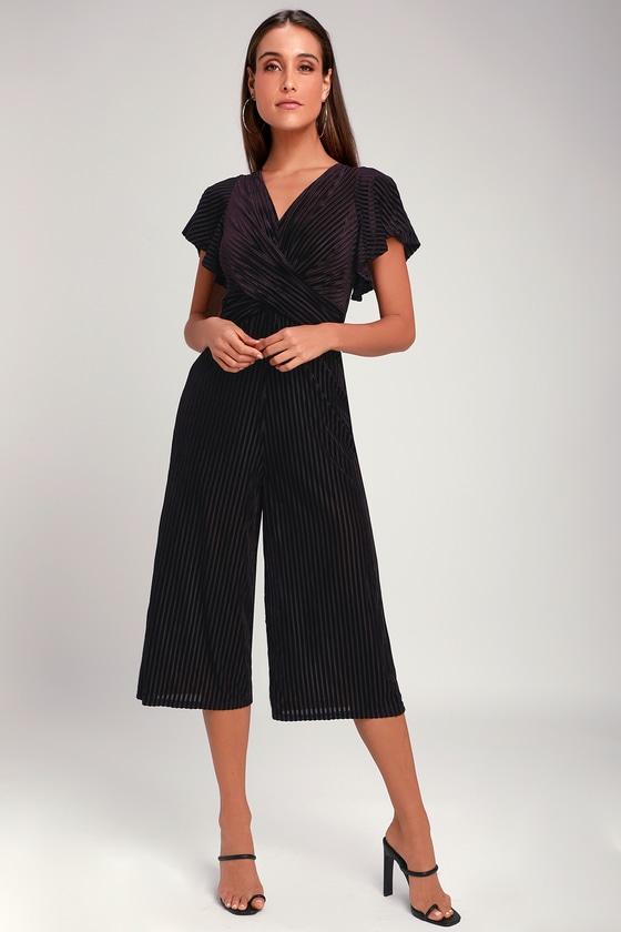 f411a5f10f Chic Plum Purple Jumpsuit - Velvet Striped Culotte Jumpsuit