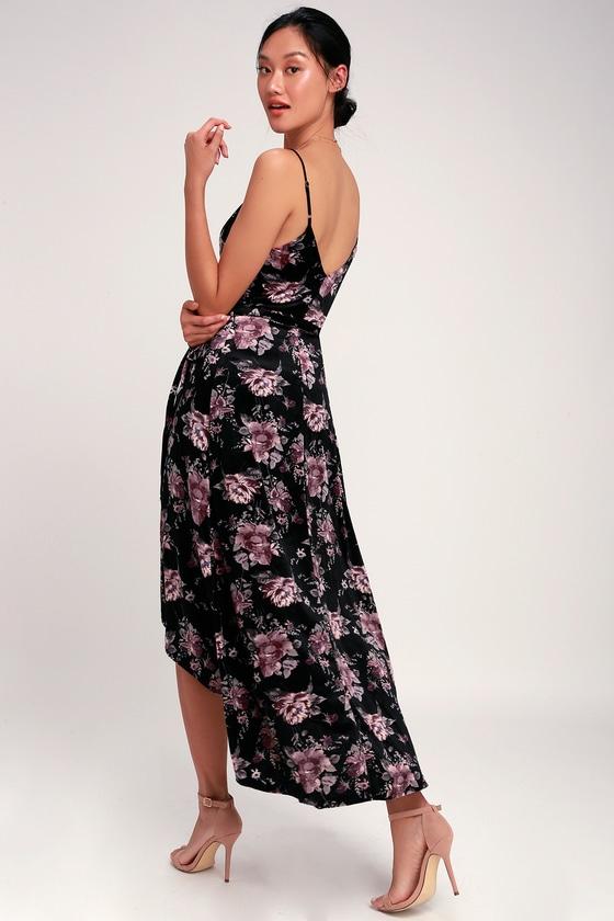 7ae026bf4682 Black Floral Print Dress - Velvet Dress - High-Low Wrap Dress