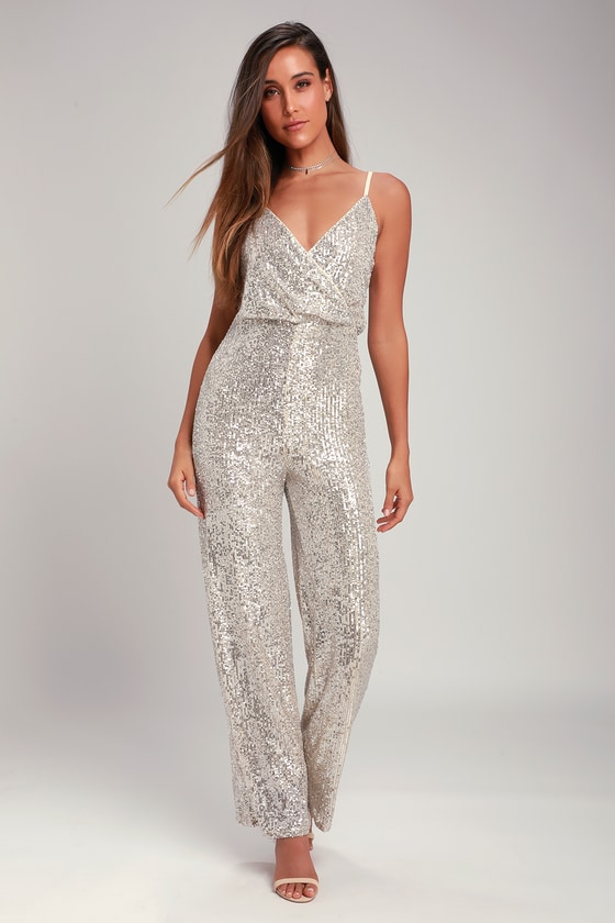 70s Prom, Formal, Evening, Party Dresses Hypnotic Beat Silver Sequin Surplice Jumpsuit - Lulus $70.00 AT vintagedancer.com