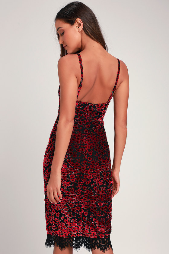 fe6f450701f3f Chic Black and Red Floral Print Dress - Burnout Velvet Midi Dress
