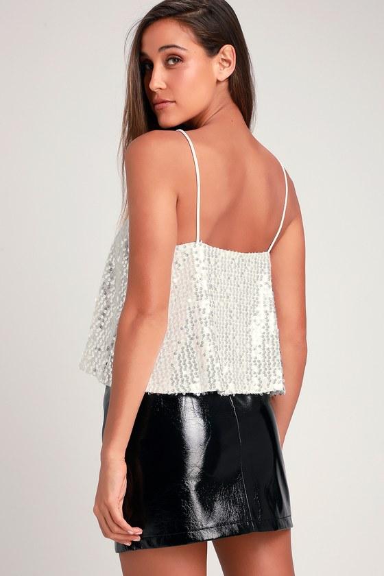 Sexy Sequin Top - White Sequin Top - Silver Sequin Top