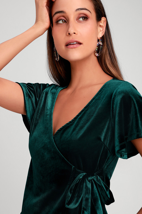7a96ffb26a76ae Others Follow Daly - Green Velvet Top - Velvet Wrap Top