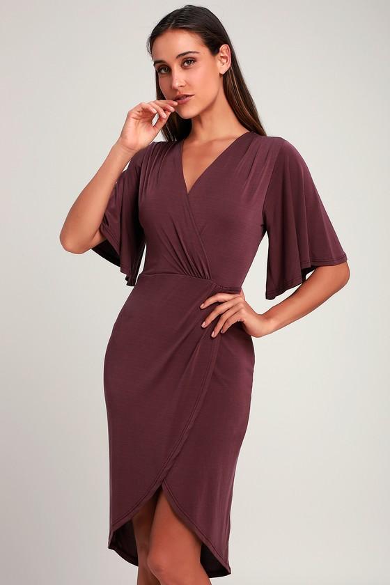 83bb06e66cab Cute Purple Dress - Midi Dress - Surplice Dress - Tulip Dress