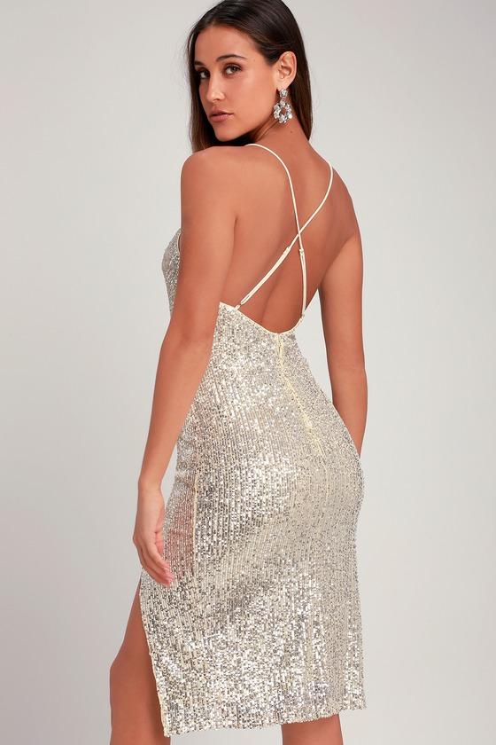 92657ec131 Sexy Silver Midi Dress - Sequin Midi Dress - Silver Dress