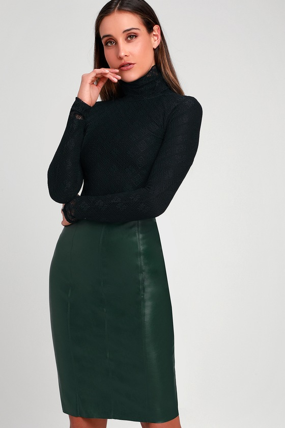 aaed10ec5ed Sexy Forest Green Vegan Leather Skirt - Midi Skirt - Pencil Skirt