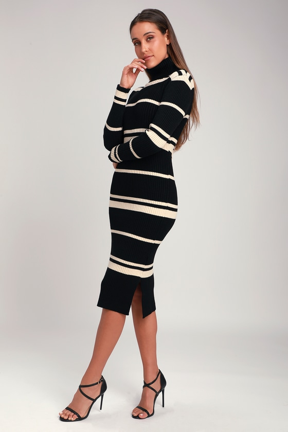 50984a358b0 J.O.A. - Beige and Black Striped Dress - Midi Sweater Dress