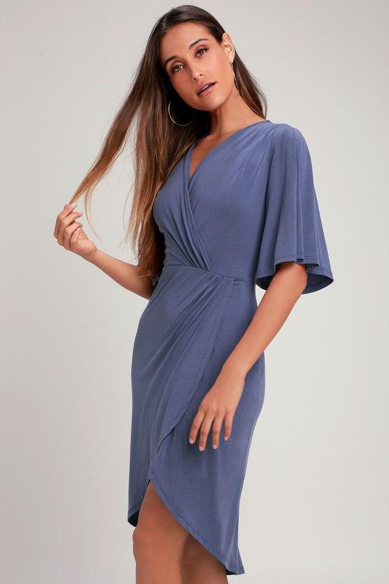 Cute Blue Dress - Midi Dress - Surplice Dress - Tulip Dress 4f5b95a42