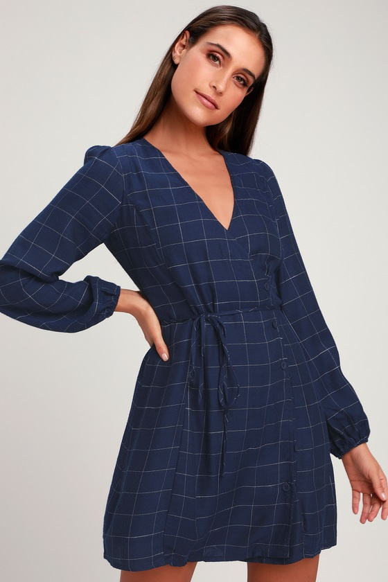 5d9403e310bb Navy Blue Grid Print Dress - Wrap Dress - Button-Up Dress - Dress