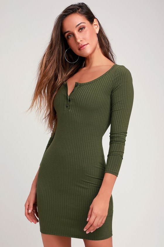 2eda92c69242 Chic Olive Green Dress - Ribbed Knit Dress - Bodycon Dress
