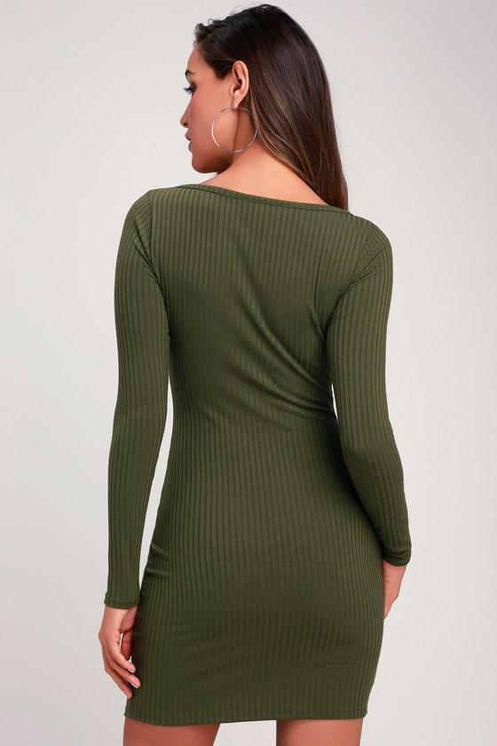 c9b43b8e1310 Chic Olive Green Dress - Ribbed Knit Dress - Bodycon Dress