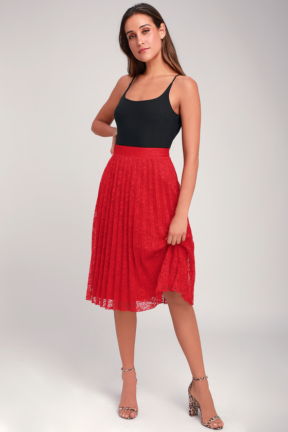 63c65a540b8 Chic Lace Skirt - Lace Midi Skirt - Red Lace Skirt
