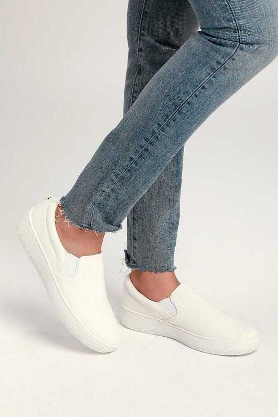 070e03d3a6ed8 Cute White Sneakers - Slip-On Sneakers - Flatform Sneakers