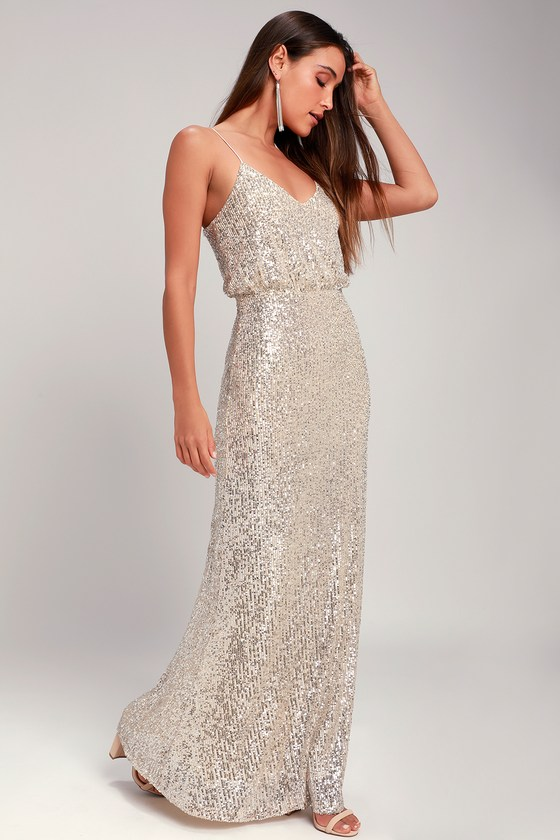 70s Prom, Formal, Evening, Party Dresses Broadway Silver Sequin Sleeveless Maxi Dress - Lulus $119.00 AT vintagedancer.com