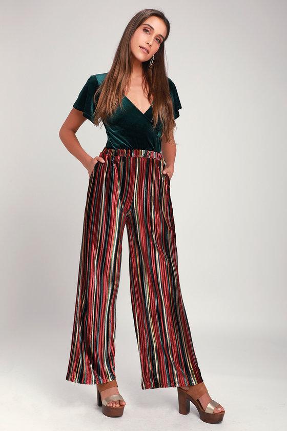 784e6f5eb130 Cool Velvet Pants - Rust Red Multi Stripe Pants - Wide Leg Pants