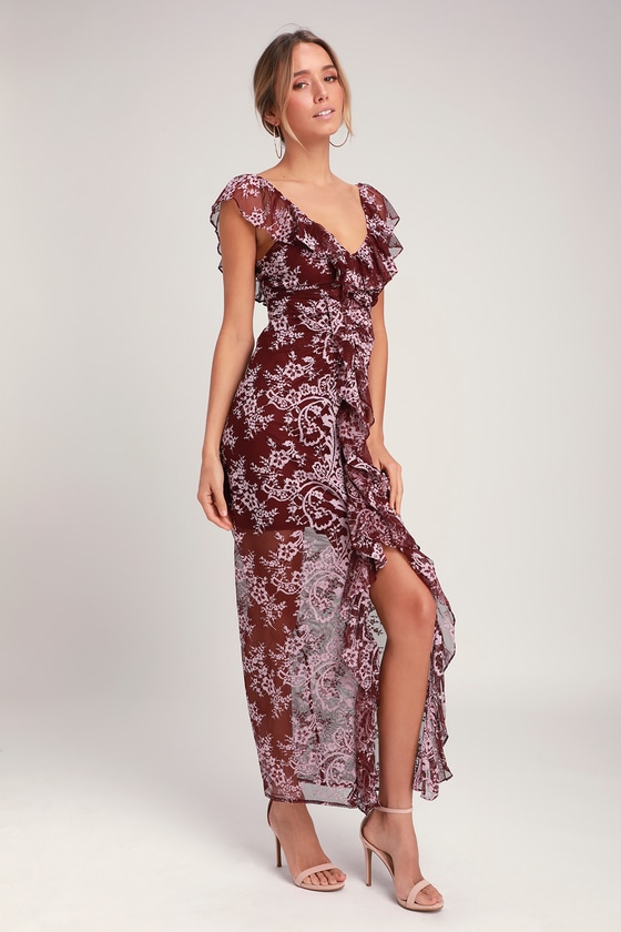 761c8346558c WAYF Marie - Burgundy Lace Dress - Ruched Lace Dress