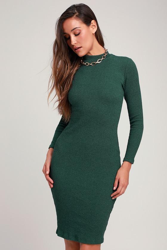 602fe52950fd8 Chic Dark Green Dress - Bodycon Dress - Midi Sweater Dress