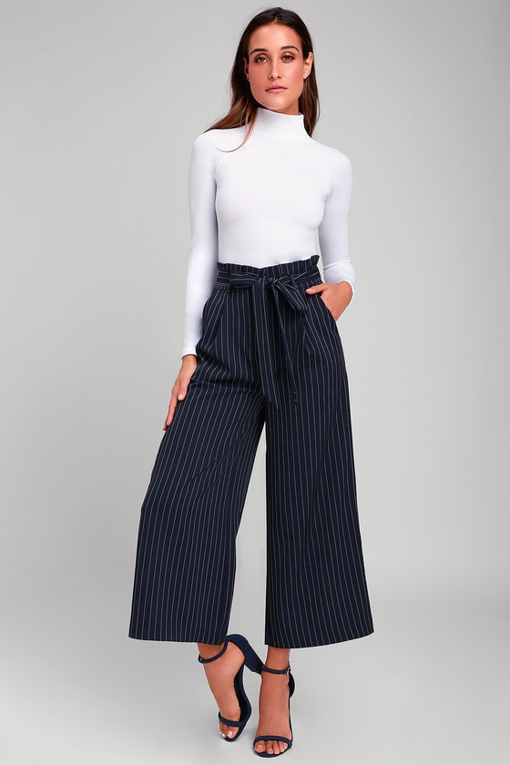 cdf60364eb6343 Navy Blue Striped Pants - Paper Bag waist Pants - Culotte Pants
