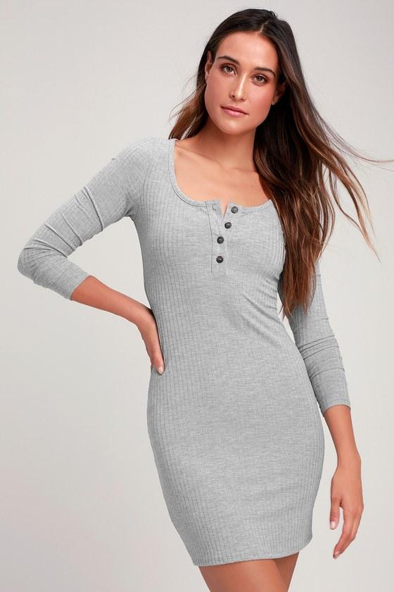933fe98f3a98 Chic Heather Grey Dress - Ribbed Knit Dress - Bodycon Dress