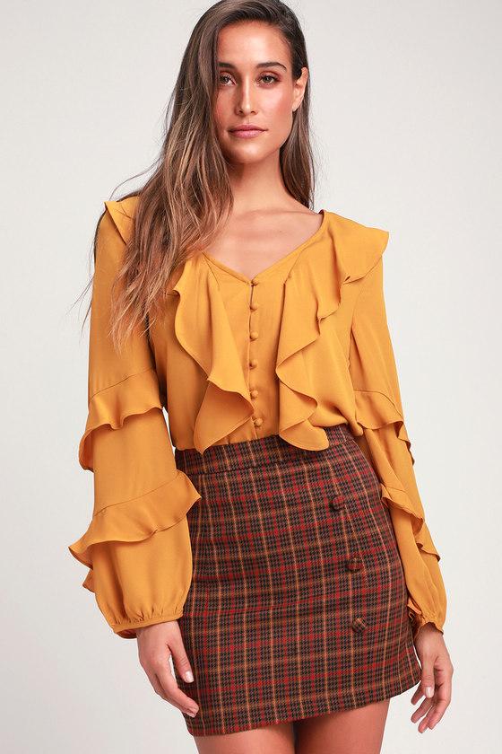 74f5be8776 Cute Mustard Yellow Blouse - Ruffle Top - Ruffled Button-Up Top