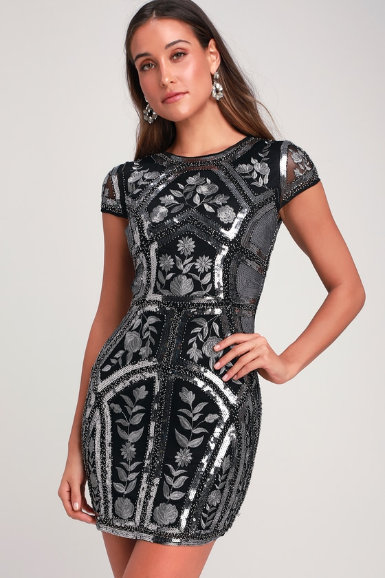 9db766a819 Sexy Black Sequin Dress - Embroidered Dress - Sequin LBD