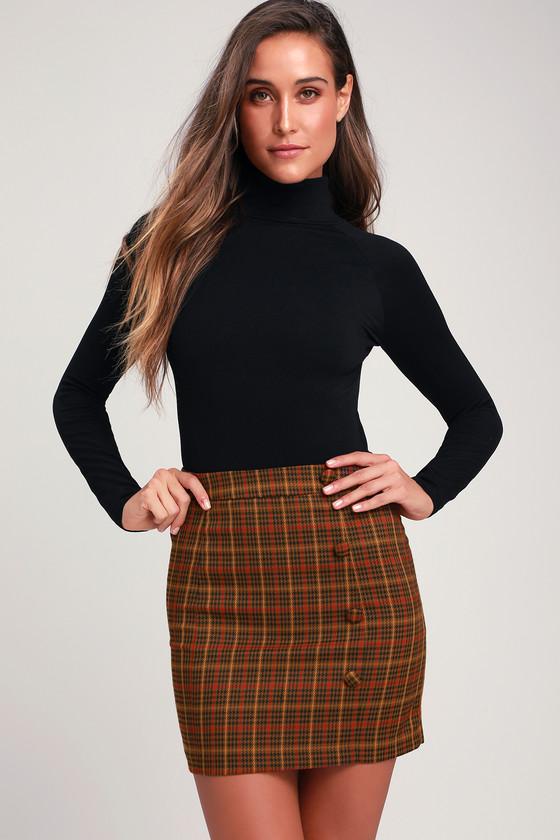 235c2ed96b J.O.A Janina - Brown Plaid Mini Skirt - Houndstooth Skirt